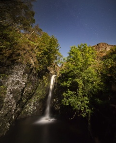 Grey Mares Tail waterfall by moonlight. Image: Viridian Skies